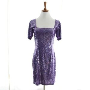 80s Vtg Purple Sequin Dress Bodycon Square Small 4